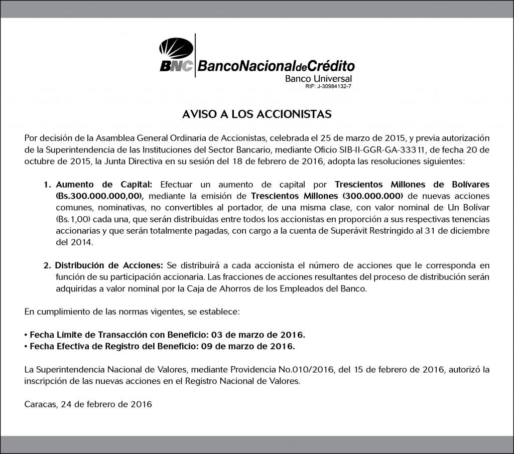 Aviso a los Accionistas - 24.02.2016