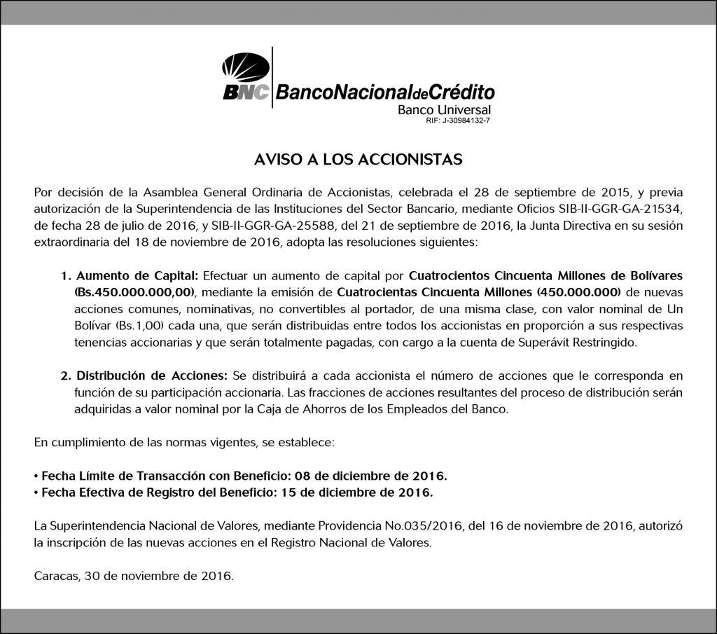 Aviso a los Accionistas 30 nov 2016