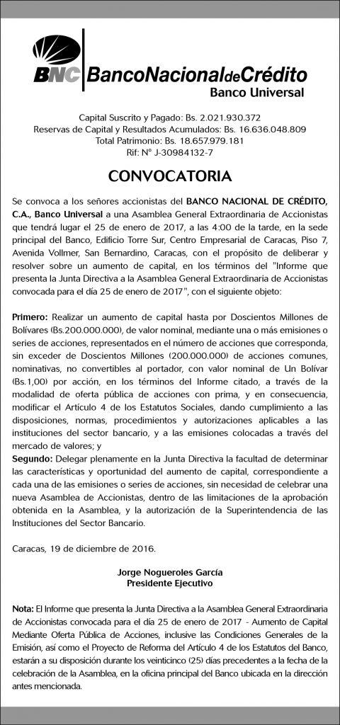 El Nacional Convocatoria (9,32 x 19,88 cms) Diciembre 2016-01
