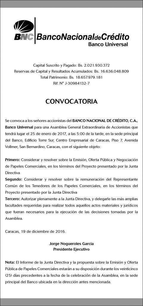 El Nacional Convocatoria (9,32 x 19,88 cms) Diciembre 2016-02